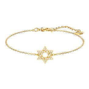 Pulsera-Star-of-David-blanco-baño-de-oro