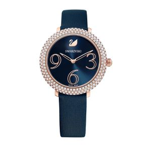Reloj-Crystal-Frost-Correa-de-piel-azul-PVD-en-tono-Oro-Rosa