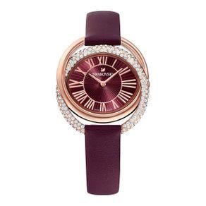 Reloj-Duo-Correa-de-piel-rojo-oscuro-PVD-en-tono-Oro-Rosa