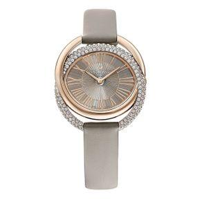 Reloj-Duo-Correa-de-piel-gris-PVD-en-tono-Oro-Champan