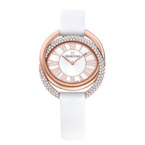 Reloj-Duo-Correa-de-piel-blanco-PVD-en-tono-Oro-Rosa