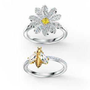 Conjunto-de-anillos-Eternal-Flower-amarillo-combinacion-de-acabados-metalicos