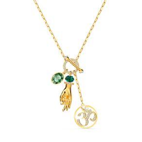 Colgante-Swarovski-Symbolic-Hand-Om-verde-baño-tono-oro
