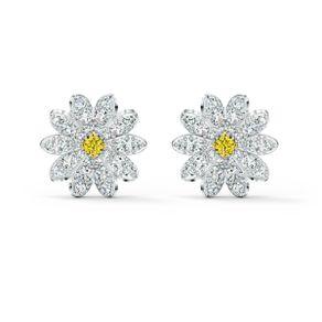 Pendientes-de-boton-Eternal-Flower-amarillo-combinacion-de-acabados-metalicos