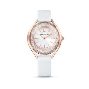 Reloj-Crystalline-Aura-correa-de-piel-blanco-PVD-tono-oro-rosa