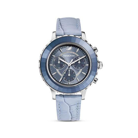 Reloj-Octea-Lux-Chrono-correa-de-piel-azul-acero-inoxidable
